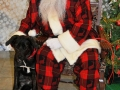 Santa poses with a black lab