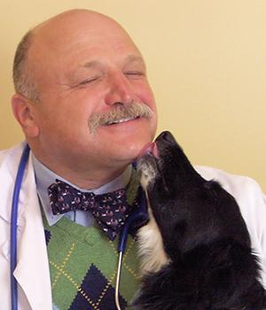 Dr. Corradini smiles as a Border Collie licks his face
